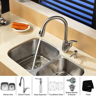 Kraus Stainless-Steel Undermount Kitchen Sink with Grids, Faucet and Soap Dispenser