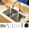 Kraus Kitchen Combo Set Stainless Steel Undermount Sink with Faucet