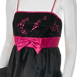 Aspeed Women's Black/ Fuschia Bubble Hem Dress