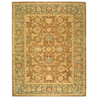 Handmade Legacy Brown/ Blue Wool Rug (9'6 x 13'6)