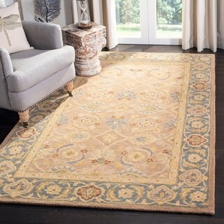 Handmade Legacy Blue/ Brown Wool Rug (2' x 3')