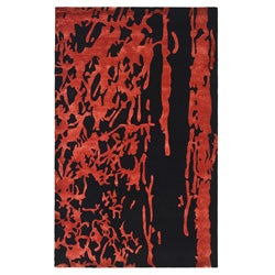Handmade Soho Deco Black/ Red New Zealand Wool Rug (3'6 x 5'6)