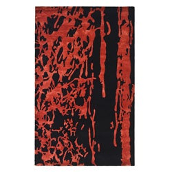 Safavieh Handmade Soho Deco Black/ Red New Zealand Wool Rug (7'6 x 9'6)