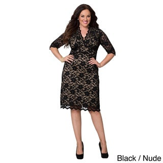 Kiyonna Clothing Women's Plus Size Scalloped Boudoir Lace Dress