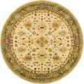 Handmade Heirloom Ivory/ Light Green Wool Rug (4' Round)