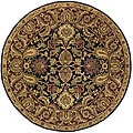 Handmade Classic Regal Black/ Burgundy Wool Rug (3'6 Round)
