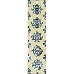 Hand-hooked Miff Ivory/ Blue Wool Runner (2'6 x 10')