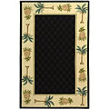 Hand-hooked Palm Black/ Ivory Wool Runner (2'6 x 6')