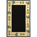 Hand-hooked Palm Black/ Ivory Wool Runner (2'6 x 8')