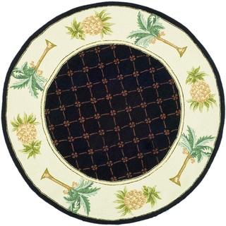 Safavieh Hand-hooked Palm Black/ Ivory Wool Rug (3' Round)