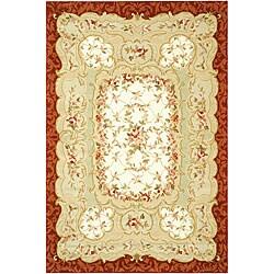 Safavieh Hand-hooked Aubusson Ivory/ Burgundy Wool Rug (6' x 9')