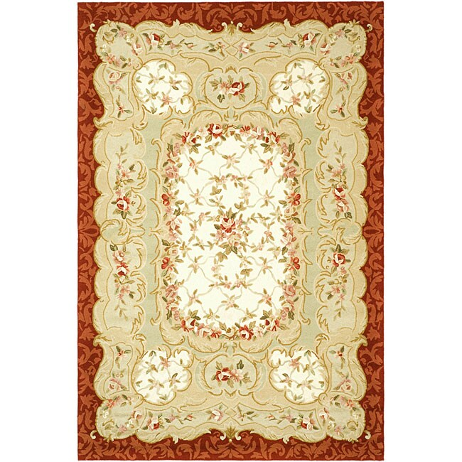 "Safavieh Hand-Hooked Aubusson Ivory/Burgundy 100-Percent Wool Rug (7'9"" x 9'9"")"