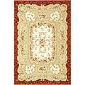 Safavieh Hand-Hooked Aubusson Ivory/Burgundy 100-Percent Wool Rug (7'9