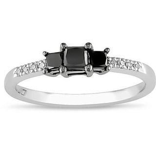 Miadora 10k Gold 1/2ct TDW Black Diamond Ring (H-I, I2-I3)