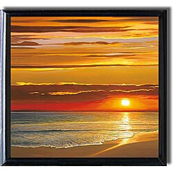 Dan Werner 'Sunset on the Sea' Black-framed Canvas Art