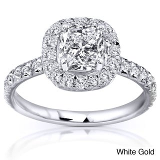 14k White, Yellow, or Rose Gold 1 3/8ct TDW Cushion Diamond Engagement Ring
