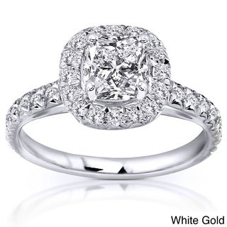 Annello 14k White, Yellow, or Rose Gold 1 3/8ct TDW Cushion and Round Halo Diamond Engagement Ring (H-I, SI1-SI2)