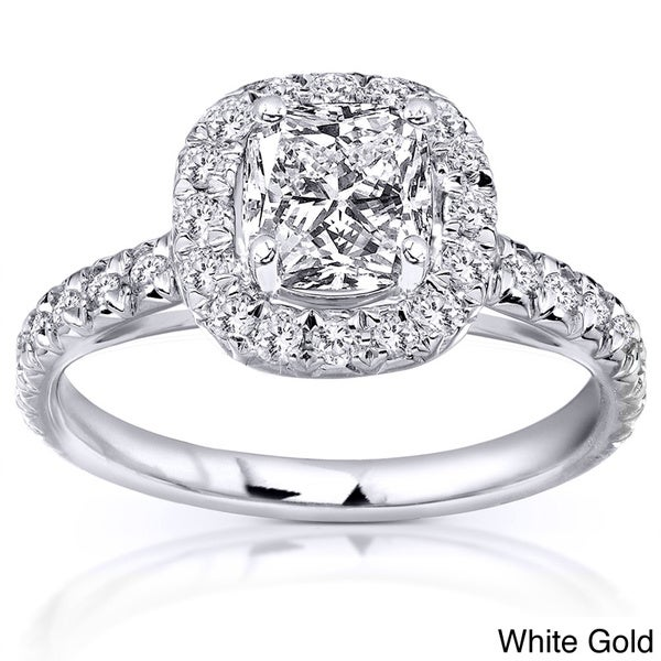 Annello 14k Gold 1 3/8ct TDW Cushion Cut Diamond Ring (H-I, SI1-SI2)