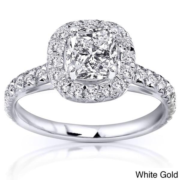 Annello 14k Gold 1 3/8ct TDW Cushion Cut Diamond Ring (H-I, SI1-SI2)