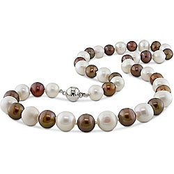 Miadora Sterling Silver Freshwater Multi-color Pearl Necklace (9-10 mm)