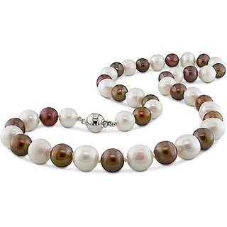 M by Miadora Sterling Silver Multi-color Cultured Freshwater Pearl Necklace (9-10 mm)