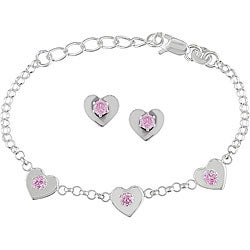 Miadora Sterling Silver CZ Heart Charm Bracelet and Earrings Set