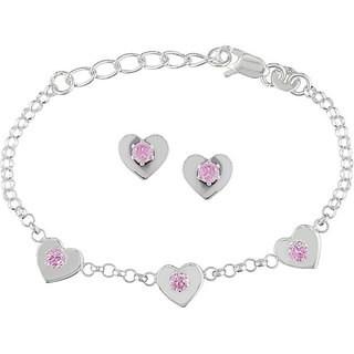 M by Miadora Sterling Silver CZ Heart Charm Bracelet and Earrings Set