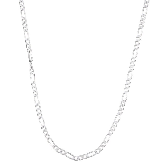 Sterling Essentials Sterling Silver 24-inch Diamond-Cut Figaro Chain (3mm)