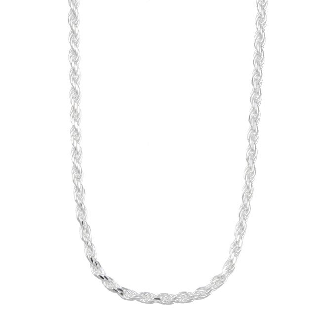 Sterling Essentials Sterling Silver 24-inch Diamond-Cut Rope Chain (2.25mm)