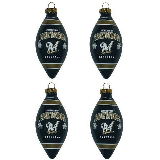 Milwaukee Brewers Teardrop Ornaments (Set of 4)