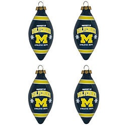Michigan Wolverines Teardrop Ornaments (Set of 4)