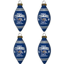 Memphis Tigers Teardrop Ornaments (Set of 4)
