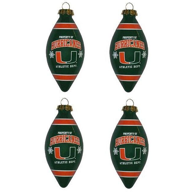 Miami Hurricanes Teardrop Ornaments (Set of 4)