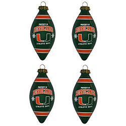 Miami Hurricanes Teardrop Ornaments (Set of 4)