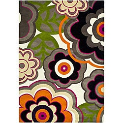 Handmade Soho Flower Power Ivory/ Multi N. Z. Wool Rug (6' x 9')