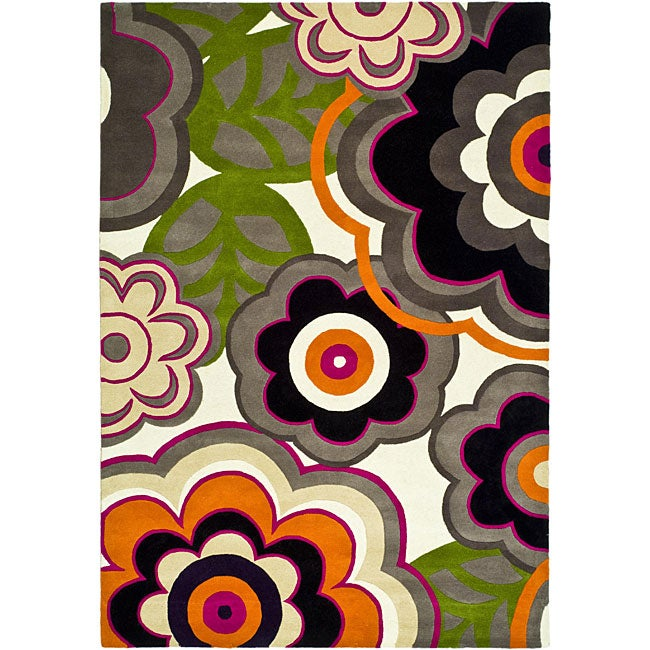 Safavieh Handmade Flower Power Ivory/ Multi N. Z. Wool Rug (7'6 x 9'6)