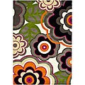 Handmade Flower Power Ivory/ Multi N. Z. Wool Rug (7'6 x 9'6)