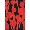 Handmade Soho Flora Black/ Red New Zealand Wool Rug (7'6 x 9'6)
