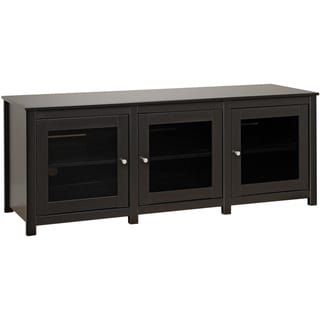 Broadway Black Flat Panel Plasma / LCD TV Console with Glass Doors