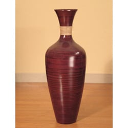 28-inch Bamboo Floor Vase and White Gladiolas
