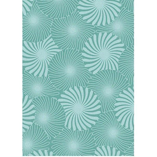 Alliyah Handmade Aqua Bursts New Zealand Blend Wool Rug (8' x 10')