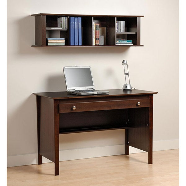Everett Espresso Computer Desk Wall Hanging Hutch
