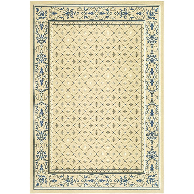 Safavieh Indoor/ Outdoor Summer Natural/ Blue Rug (7'10 x 11')