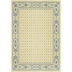 Indoor/ Outdoor Summer Natural/ Blue Rug (7'10 x 11')