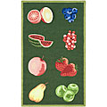 Hand-hooked Fruits Hunter Green Wool Runner (2'6 x 4')