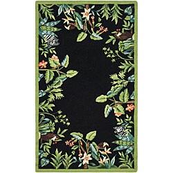 Safavieh Hand-hooked Safari Black/ Green Wool Runner (2'6 x 4')