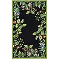 Hand-hooked Safari Black/ Green Wool Runner (2'6 x 4')