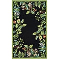 Hand-hooked Safari Black/ Green Wool Rug (2'9 x 4'9)