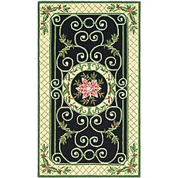 Safavieh Hand-hooked Irongate Wreath Green/ Beige Wool Rug (2'9 x 4'9)