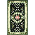 Hand-hooked Irongate Wreath Green/ Beige Wool Rug (2'9 x 4'9)